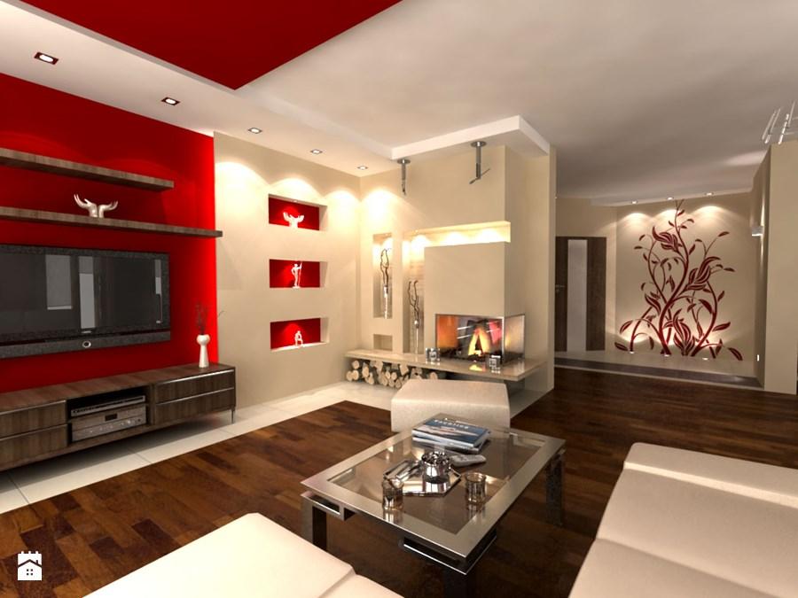 Czerwony z brązem w salonie
