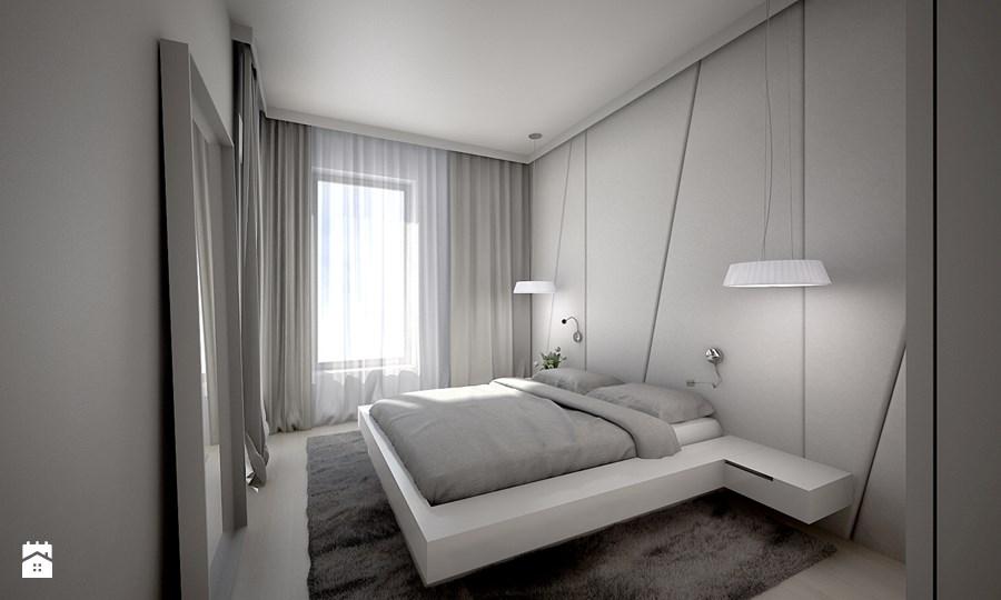 sypialnia w bieli i szarości