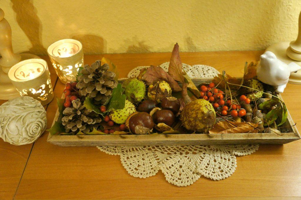 jesienna dekoracja z ptaszkami