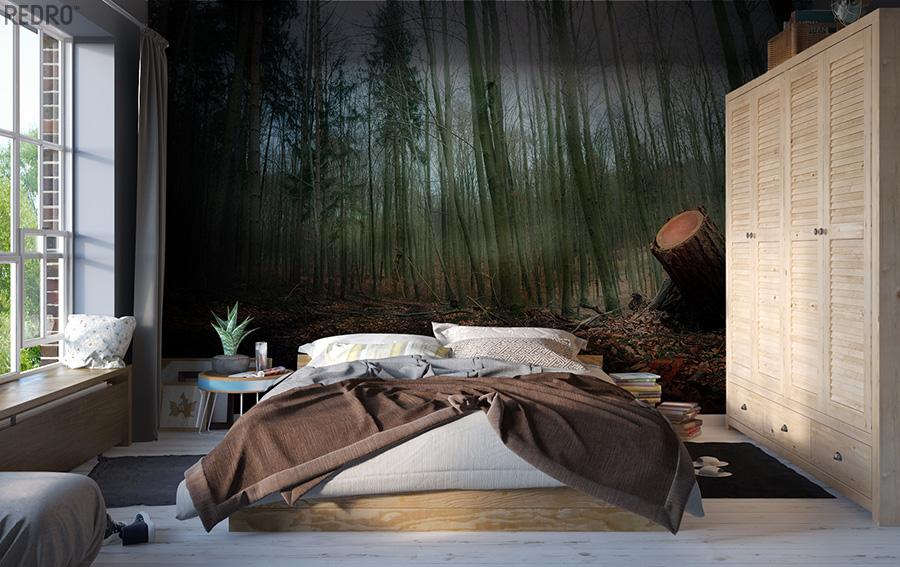 sypialnia jak las