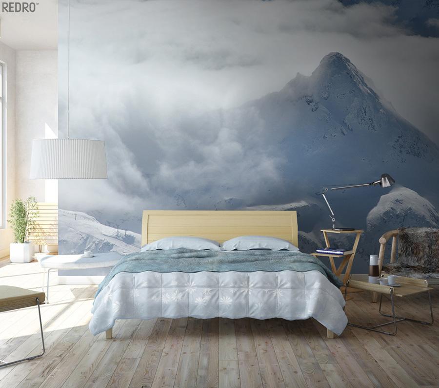niebiańska sypialnia z fototapetą