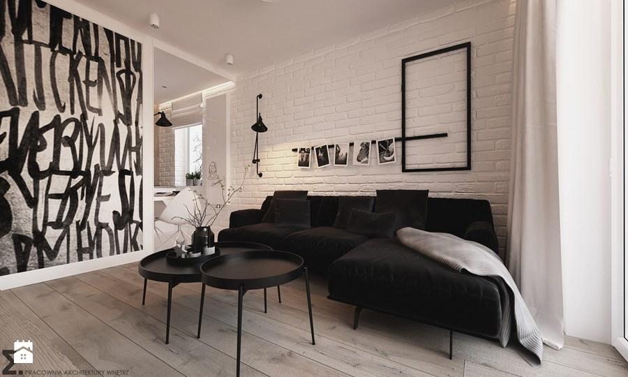 biała cegła w salonie