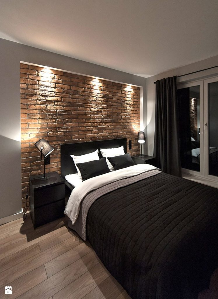 nowoczesna sypialnia z cegłą