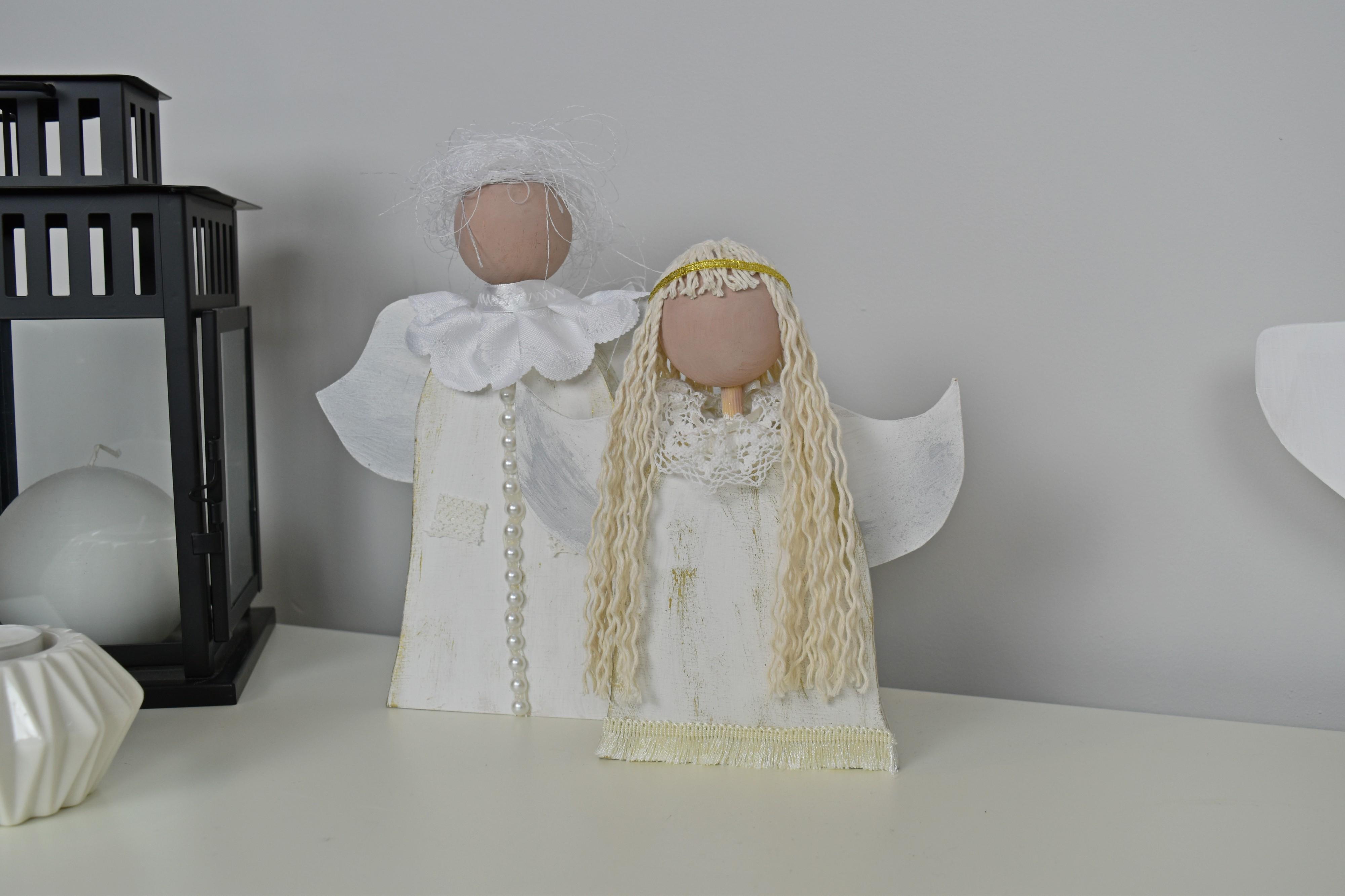 drewniane anioły DIY