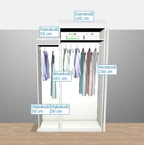 wysokość szafy